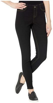 KENDALL + KYLIE No Waistband Denim Leggings (Black Wash) Women's Casual Pants