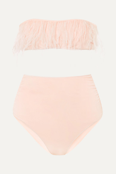 Oseree Feather-trimmed Bandeau Bikini - Pink
