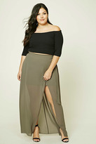 Forever 21 FOREVER 21+ Plus Size Wrap Front Maxi Skirt