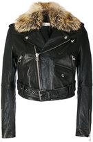 Faith Connexion faux fur biker jacket - women - Lamb Skin/Polyester - 36