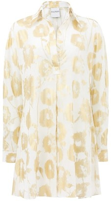 Halpern Metallic Floral-print Cotton-voile Shirt Dress - White Gold