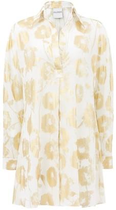 Halpern Metallic Floral-print Cotton-voile Shirt Dress - Womens - White Gold