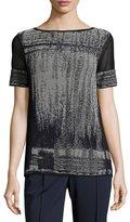 Lafayette 148 New York Short Mesh-Sleeve Brushed Jacquard Sweater, Ink Multi