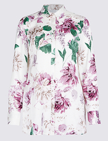 Classic Floral Print Long Sleeve Satin Shirt