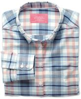 Charles Tyrwhitt Women's Semi-Fitted Cotton Oxford Multi Check Casual Shirt Size 4