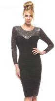 Janique - Ruched Jersey Dress With Beaded Mesh Long Sleeves 1341