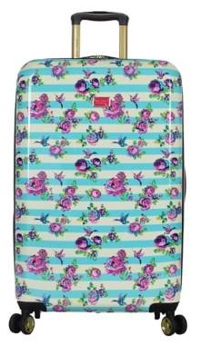 Betsey Johnson Luggage Stripe Floral Hummingbird 26-Inch Checked Hard Shell Luggage