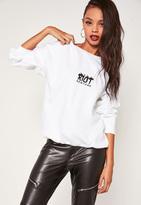 Missguided New York Graphic Sweatshirt White