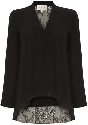 Damsel in a Dress Ruthie Lace Back Blouse, Black