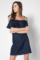 7 For All Mankind Off The Shoulder Ruffle Tie Dress In Deep Blue