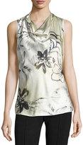 Lafayette 148 New York Trish Silk Floral-Print Top, Cloud/Multi