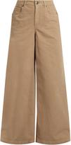 Brunello Cucinelli High-rise wide-leg stretch-cotton trousers
