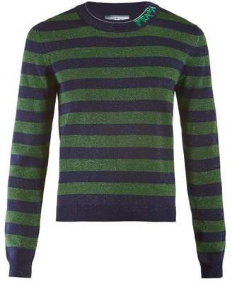Prada Logo-intarsia Metallic Striped Sweater - Womens - Green Multi