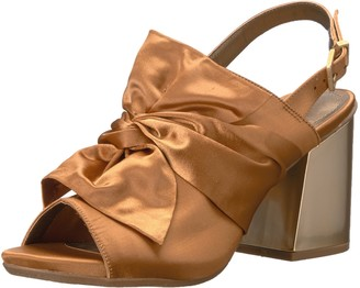Kenneth Cole Reaction Women's Reach Beyond Peep Toe Dress Sandal with Twisted Bow Detail Flared Heel-Satin Slide Pump