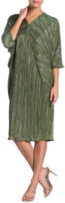 Tov Metallic Plisse Pleated Batwing Sleeve Dress