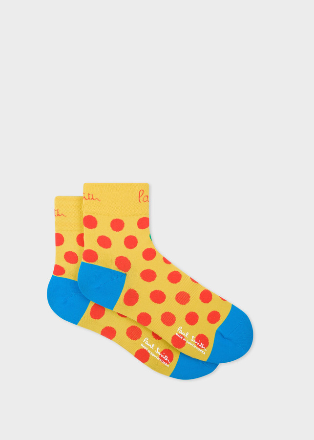 Paul Smith Mens Yellow Polka Dot Cycling Socks