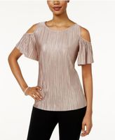 MSK Pleated Cold-Shoulder Top