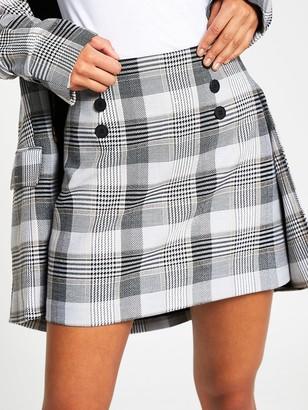 River Island Button Check Mini Skirt - Grey