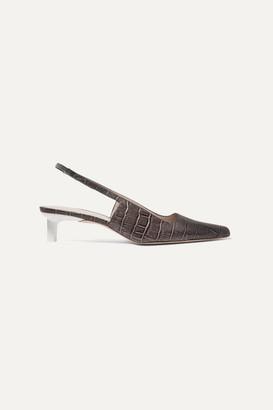 REJINA PYO Lois Croc-effect Leather Slingback Pumps - Charcoal