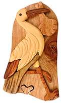 South Asia Trading Handmade Wooden Art Intarsia TRICK SECRET Stork with Baby Bird Puzzle Trinket Box (g2)