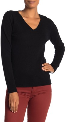 M Magaschoni Solid V-Neck Cashmere Pullover Sweater