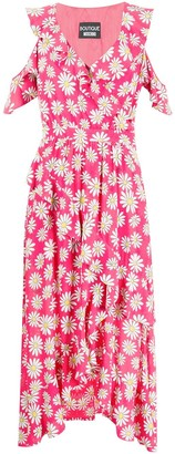 Moschino Floral Print Ruffled Dress