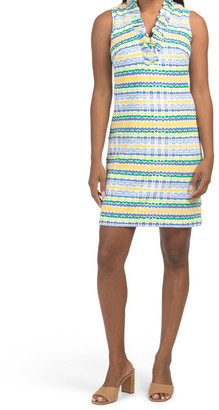 Sleeveless Ruffle Detail Shift Dress