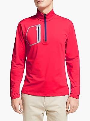 Ralph Lauren Polo Golf by Stretch Half Zip Pullover Top, Deep Orangey Red