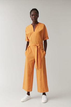 Cos Open V-Neck Cotton Jumpsuit
