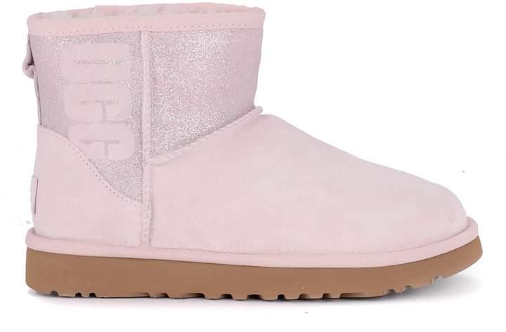 5da01b3b021 Classic Mini Logo Sparkle Pink Suede And Glitter Ankle Boots