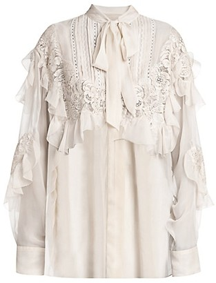 Valentino Ruffled Lace Chiffon Silk Shirt