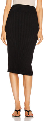 Enza Costa Military Cotton Rib Pencil Skirt in Black | FWRD