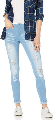 Cover Girl Size Cute Mid Rise Waisted Distressed Torn Skinny Juniors