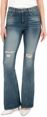 KUT from the Kloth Ana Ripped High Waist Flare Jeans