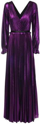 Marchesa Notte Pleated V Neck Lame Long Dress