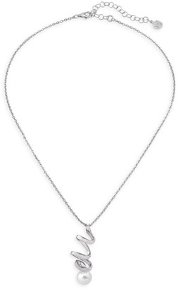 Majorica Sterling Silver & 10MM White Round Man-Made Pearl Pendant Necklace