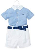 Ralph Lauren Short-Sleeve Striped Shirt w/ Belted Shorts, Blue, Size 6-24 Months