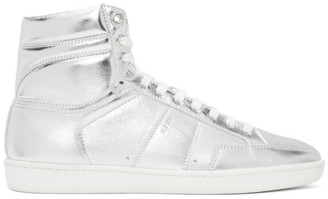Saint Laurent Silver Court Classic SL/10H High-Top Sneakers