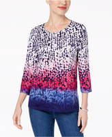 Alfred Dunner Family Jewels Petite Printed Embellished Ombré Top