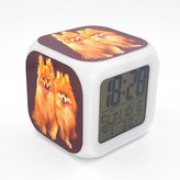 Boyan Led Alarm Clock Pomeranian Dog Puppy Creative Desk Table Clock Glowing Led Digital Alarm Clock for Unisex Adults Kids Toy Gift