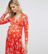 Asos Maternity - Nursing Asos Maternity Petite Nursing Wrap Skater Dress In Floral Print