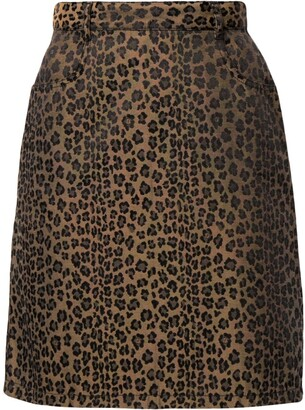 Fendi Pre-Owned Leopard Print High-Waisted Skirt