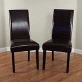 Monsoon Villa Faux Leather Brown Dining Chairs (Set of 2)