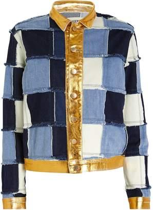 L'Agence Sly Foil Patchwork Denim Jacket