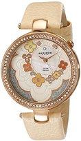 Akribos XXIV Women's AK601RG Lady Diamond Flower Dial Swiss Quartz Leather Strap Watch
