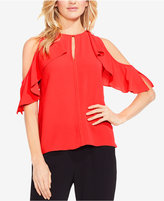 Vince Camuto Cold-Shoulder Flutter-Sleeve Top