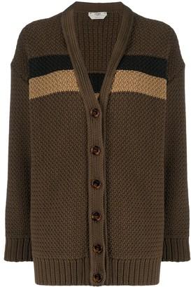 Fendi Striped Panel Knitted Cardigan