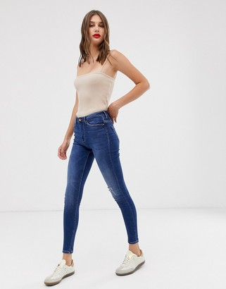 Only high waist authentic dark blue skinny jean