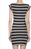 French Connection Striped Cap-Sleeve Dress, Navy/Gray