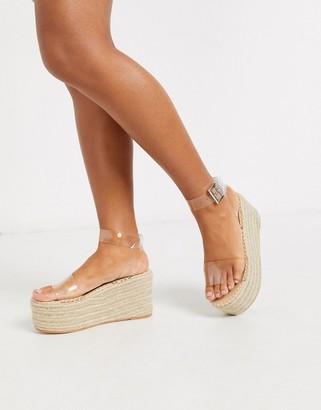 Public Desire Saffy raffia flatform espadrille sandal in clear